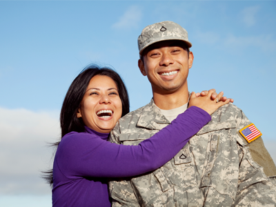 military couple smiling
