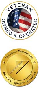 two seals, veteran owned seal and The Joint Commission seal